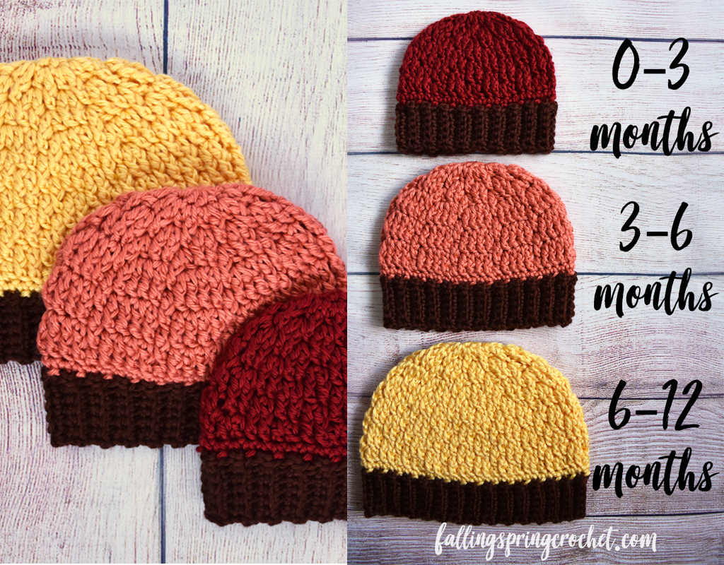Fall Baby Beanie Crochet Pattern Free Sizes 0 12 Months Falling